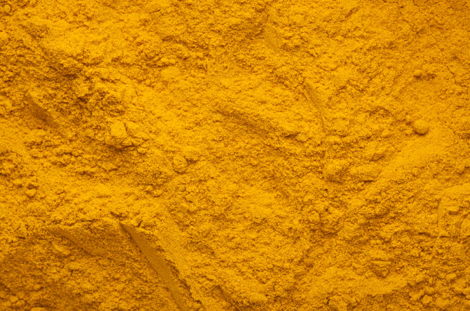 Closeup of the texture of turmeric powder